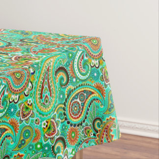 Modern Floral Colorful Paisley Tablecloth