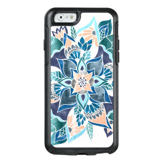 Modern floral coral blue watercolor hand drawn OtterBox iPhone 6/6s case