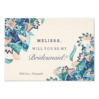 Modern floral coral teal watercolor bridesmaid 9 cm x 13 cm invitation card