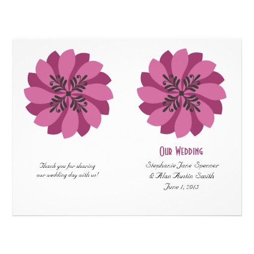 Modern Floral Crimson Wedding Program Flyers