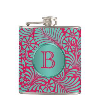 Modern Floral Damask Monogrammed Hip Flask