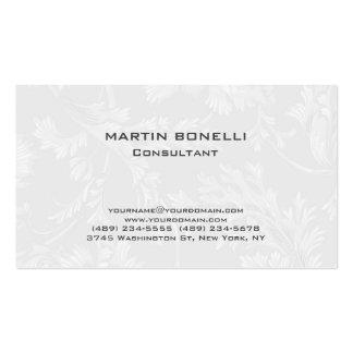 Modern Floral Damask White Grey Pack Of Standard Business Cards
