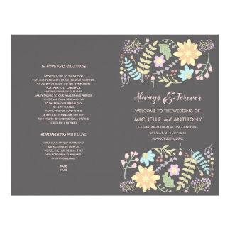 Modern Floral design Folded Wedding Program Flyer