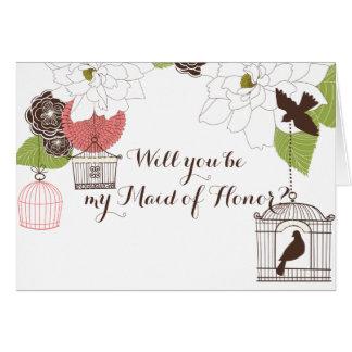 Modern Floral Design Magnolia Name n Love Birds Greeting Card