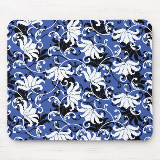 Modern Floral Design Mouse Pad - Black/Black/White