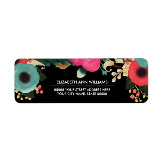Modern Floral Design Wedding Return Address Labels