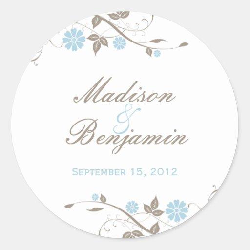 Modern Floral Favor Sticker - Aqua Blue Round Sticker