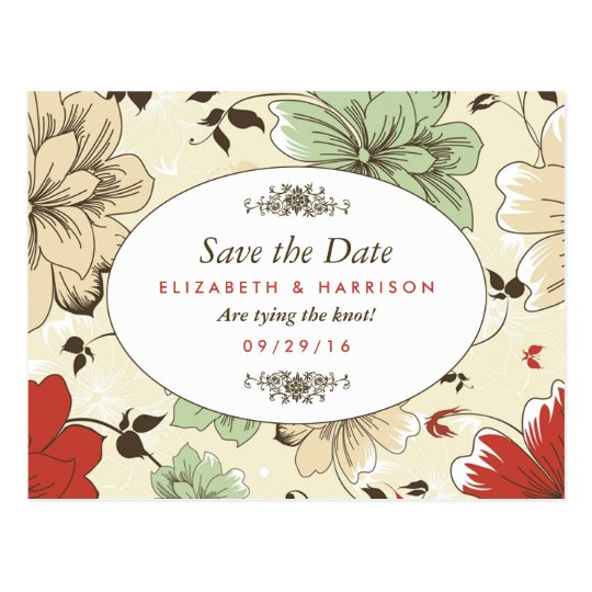 Modern Floral Garden Botanical Save The Date Postcard