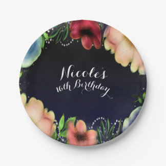 Modern Floral Glow Chic Elegant Evening Party Paper Plate