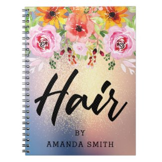 Modern Floral Gold Glitter Hair Appointment Notebook