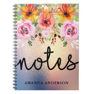 Modern Floral Gold Glitter Personalised Notebook
