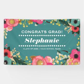 Modern Floral Graduation Party Banner