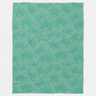 Modern Floral Green Fleece Blanket