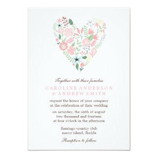 Modern Floral Heart Wedding Card