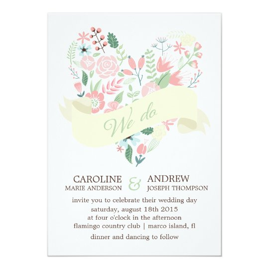 Modern Floral Heart Wedding Card