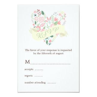 Modern Floral Heart Wedding RSVP Response 9 Cm X 13 Cm Invitation Card