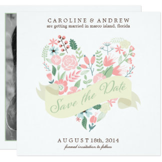 Modern Floral Heart Wedding Save the Date Card