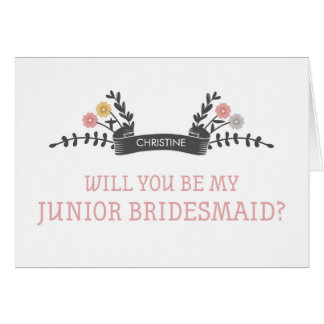 Modern Floral Junior Bridesmaid Request Card