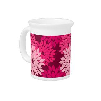 Modern Floral Kimono Print, Coral Pink & Burgundy Pitcher