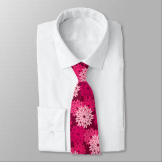 Modern Floral Kimono Print, Coral Pink & Burgundy Tie