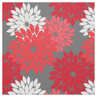 Modern Floral Kimono Print,  Coral Red and Gray Fabric