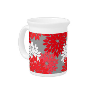 Modern Floral Kimono Print, Coral Red and Gray Pitcher