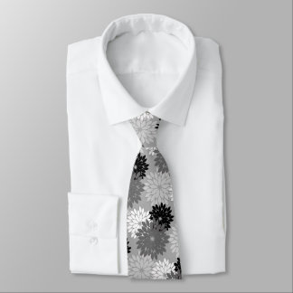 Modern Floral Kimono Print, Gray, Black and White Tie