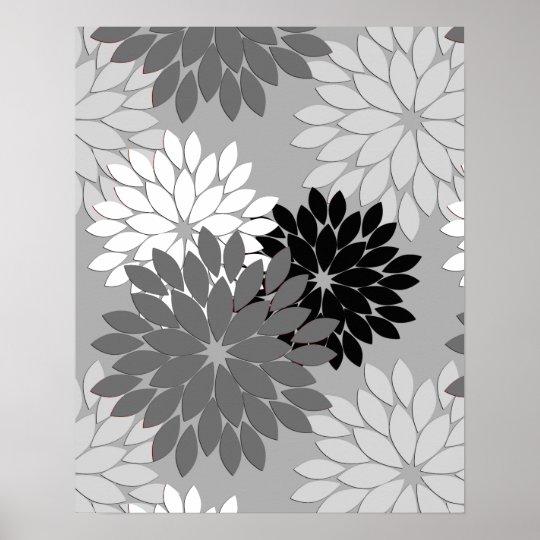 Modern Floral Kimono Print, Grey, Black and White