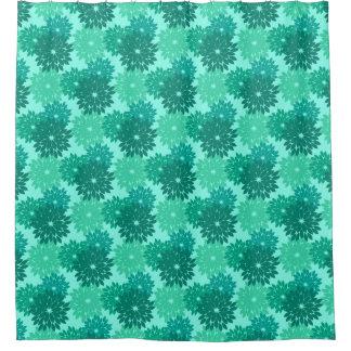 Modern Floral Kimono Print, Turquoise, Teal & Aqua Shower Curtain