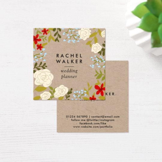 Modern floral kraft square planner business card