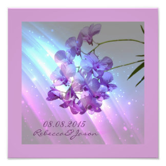 modern floral lilac purple orchid wedding art photo