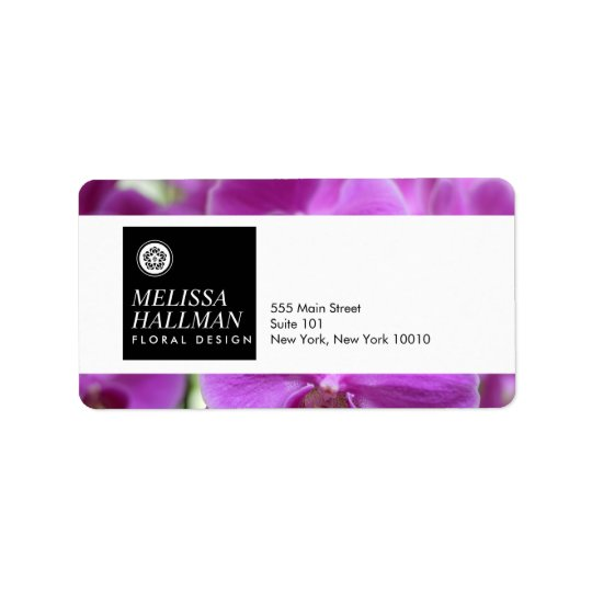 Modern Floral Logo Bright Orchids I Address Label