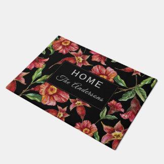 Modern Floral Monogram Doormat