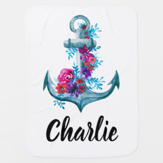 Modern Floral Nautical Watercolor Anchor Baby Blanket