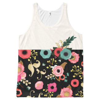 Modern Floral Pattern All-over-print Tank Tops