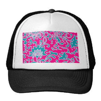 Modern Floral Pattern Gift Pink Blue White Mesh Hats