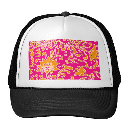 Modern Floral Pattern Gift Pink Orange White Hats