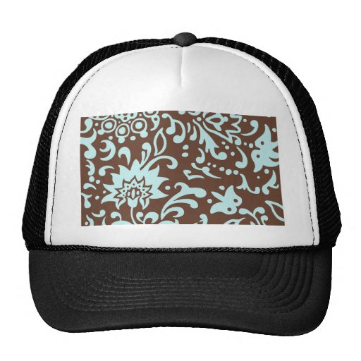 Modern Floral Pattern Gift Retro Baby Blue Brown Trucker Hat