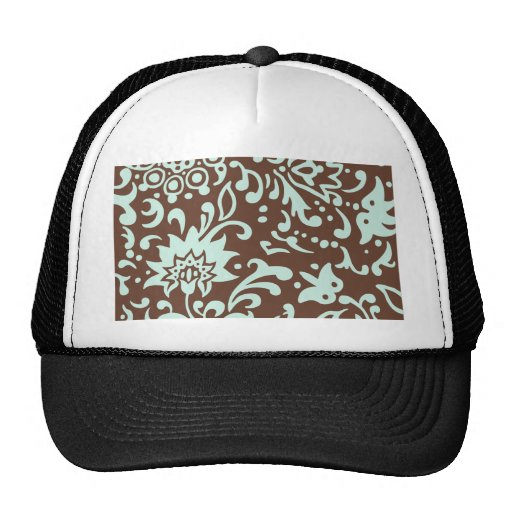 Modern Floral Pattern Gift Retro Baby Green Brown Trucker Hat