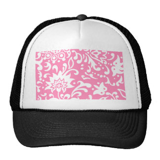 Modern Floral Pattern Gift Retro Baby Pink Mesh Hat