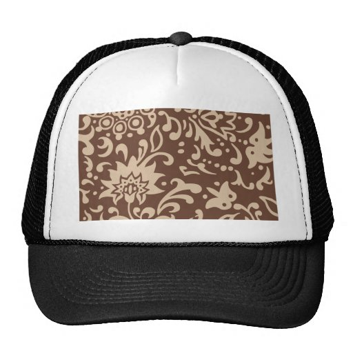 Modern Floral Pattern Gift Retro Beige Brown Mesh Hat