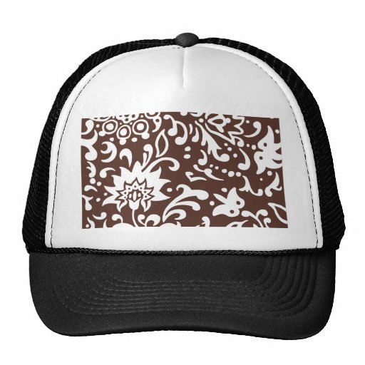 Modern Floral Pattern Gift Retro Brown White Mesh Hat