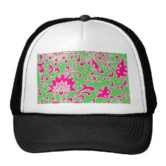 Modern Floral Pattern Gift Retro Pink Green Hat