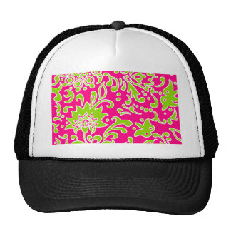 Modern Floral Pattern Gifts Pink Lime Green White Cap