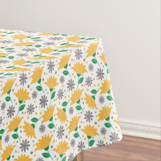 Modern Floral Pattern | Yellow And Gray Flowers Tablecloth