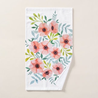 Modern Floral Pink Flowers Watercolor Illustration Hand Towel