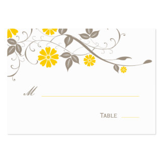 Modern Floral Place Card - Mustard Pack Of Chubby Business Cards