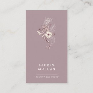 Modern Floral Plums and Creme Business Card