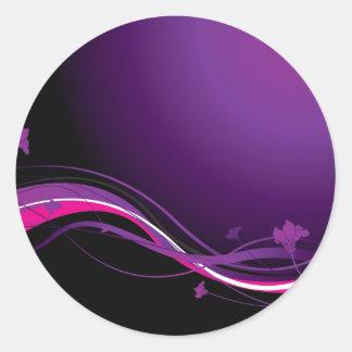 Modern floral purple classic round sticker