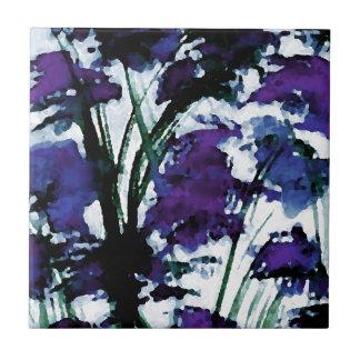 Modern Floral Purple Flowers in the Garden Breezes Tile